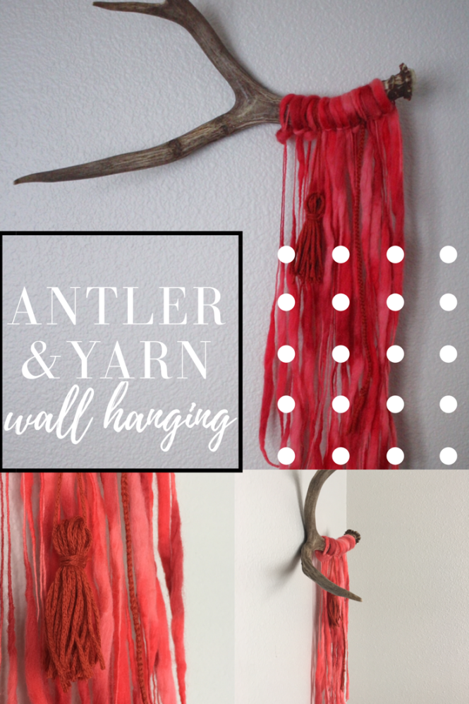 Antler art, antler wall hanging, wall hanging, yarn wall hanging, DIY, modern wall hanging